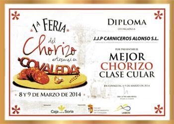Primer premio en la categoría de Chorizo Clase Cular